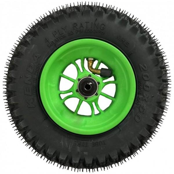 Roue complète 8 pouces (200 x 50 mm) avec jante verte et pneu KENDA ROAD STAR