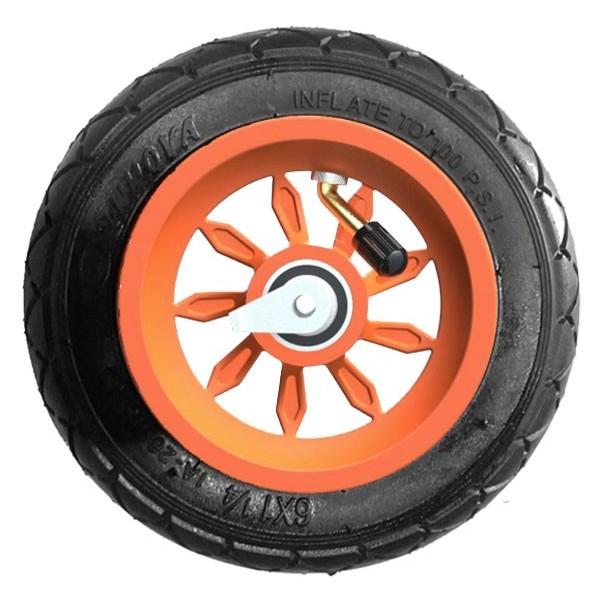 Roue complète 6 pouces 1/4 orange - jante 9SB RS et pneu