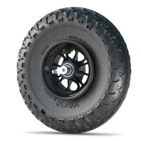 Roue complète 8 pouces avec jante noire, pneu Major Grip et système anti-recul12SG-MG-RLS